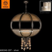 8 lights metal+mica+glass warm muted sliver leaf pendant chandelier lighting