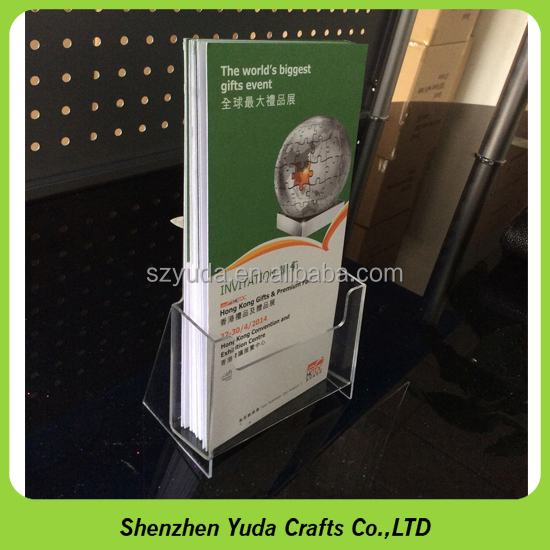 wholesale price plexiglass clear A6 flyer holder stand, acrylic lucite brochures pocket stand