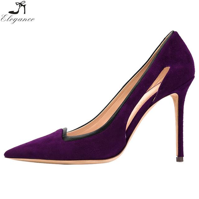 China Fashion Girls Deep Purple Point Toe 10 CM Heeled Pumps Women Dress Shoes Small Sizes High Heels Shoes 2017