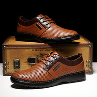 Breathable casual men's leather shoes hole