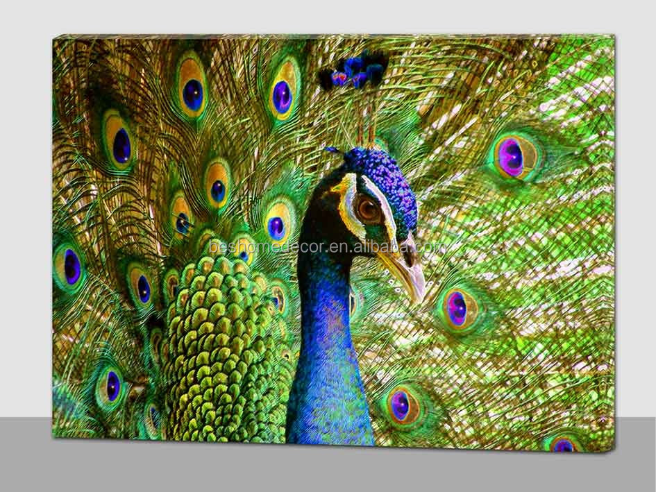 Wholesale peacock lighted pictures,fairy led lighted canvas wall art for bedroom
