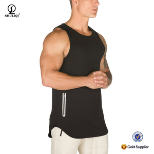 New arrival dry fit muscle fitness tank top men enhances sweat wicking running mesh tank top with zipper pocket
