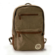 Cheap stylish fashion khaki canvas backpack