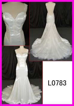 Korea satin corded lace backless wedding gowns canconfair Guangzhou design mermaid wedding dresses