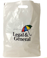 Plastic ldpe die cut bag with punched handles custom printing