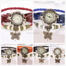 2015 Hot Original High Quality Women Genuine Leather Vintage Watches,Bracelet Wristwatches butterfly/Eiffel Tower Pendant