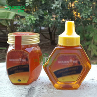 BPA free 200ml/280g new design hexagon shape clear empty honey bottle PET plastic squeeze bottles