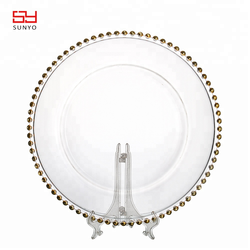 wholesale 13inch glass gold beaded charger <strong>plate</strong>