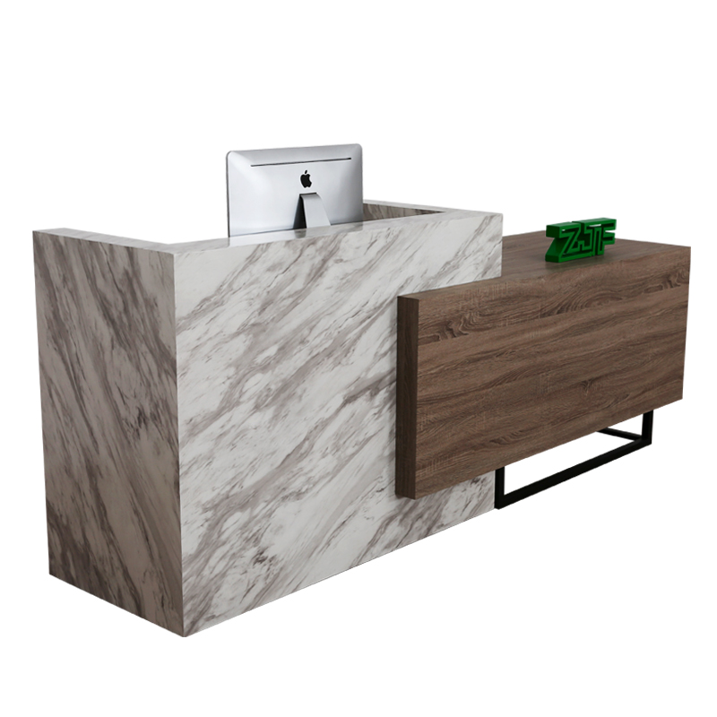Imitate carrara white marble reception desk table front counter stainless steel feet bar reception desk