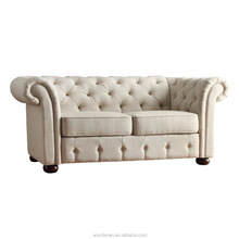 Beige Linen Tufted Scroll Arm Chesterfield Loveseat sofa living room furniture