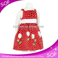 Red and white polka dot birthday dress 1 year old girl
