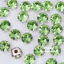 color peridot green machine cut round sew on crystal chatons in claw for women dresses