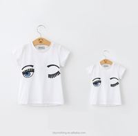 Pain white t-shirt with big eyes embroidery and black sequin mother and daughter matching clothes