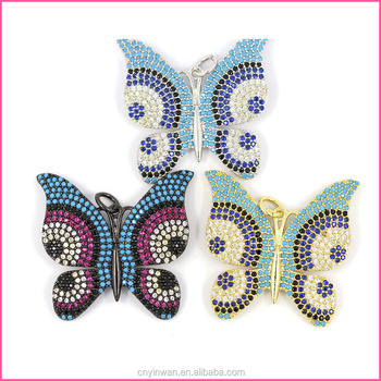 YCZ496 Evil eye Fashion charm butterfly micro pave cz xonnector for jewelry pendant