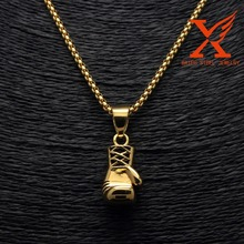 Gold Black Hot Men's Stainless Steel Casting Sports Single Fancy Boxing Glove Pendant