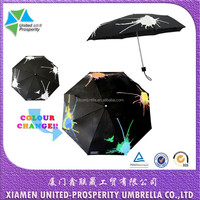 Explosive oil paintl magic printing 3-fold pongee umbrella from xiamen