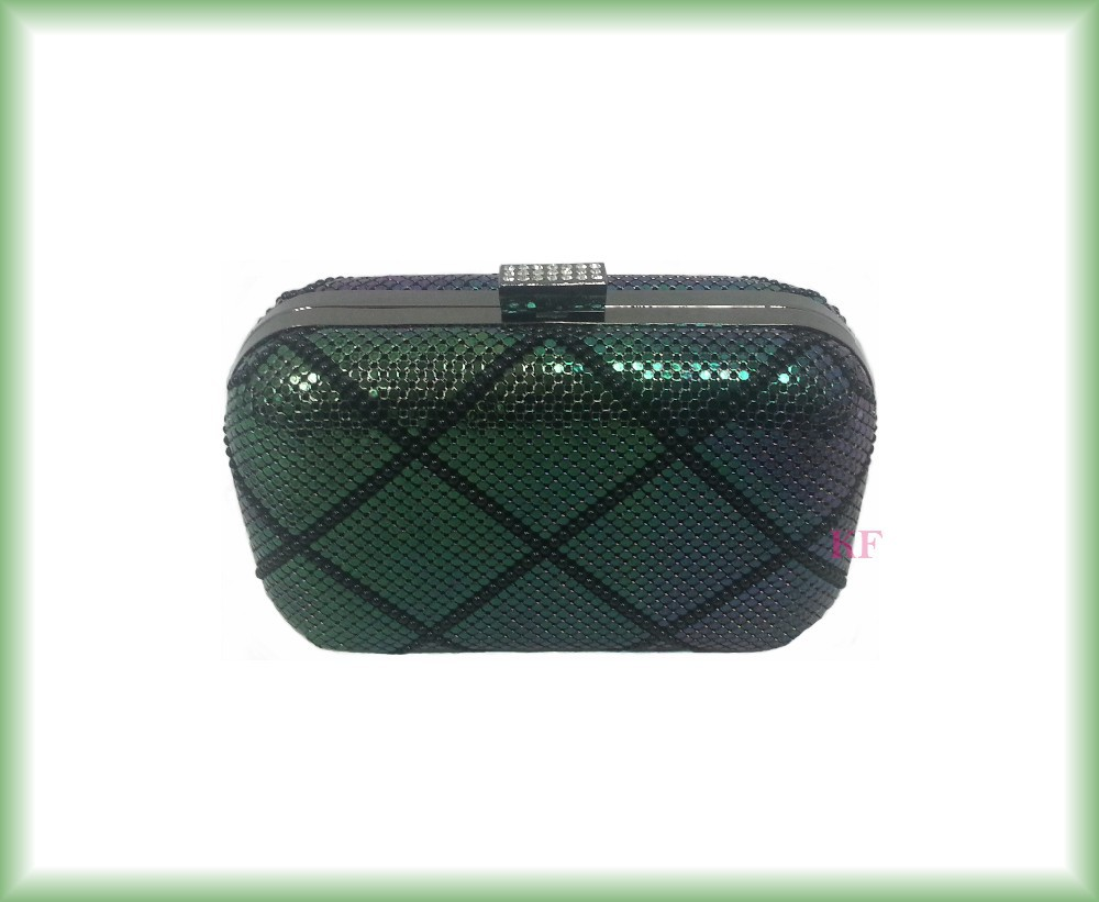 Elegant X quilted evening clutch minaudier metal mesh bag