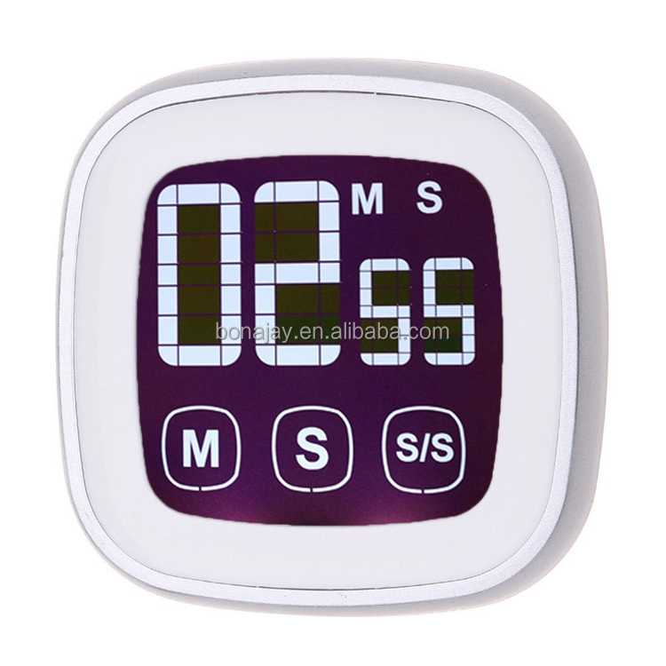 Kitchen Timer Touch Screen Digital Timer Count Down/Count Up with Loud Alarm Large Display Backlight Magnetic Back