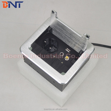 Aluminum Alloy Conference Tabletop Manual Brushed Cover Flip Up Power Socket / Cable Tidy Box