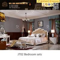 New American Style Romantic Solid Wood Bedroom Furniture/leather headboard Queen Bedroom Furniture/