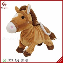 Stuffed Long Fur Horse Brown Plush Standing Horse Toy Cartoon Plush Long Hair Pony Toy