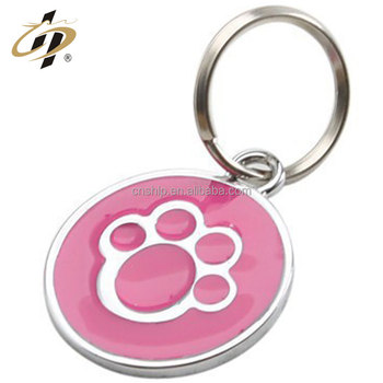 Promotion custom round enamel with epoxy animal silver key ring