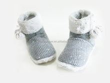 Children Indoor Knitted Winter Soft Snow Boots with Plush