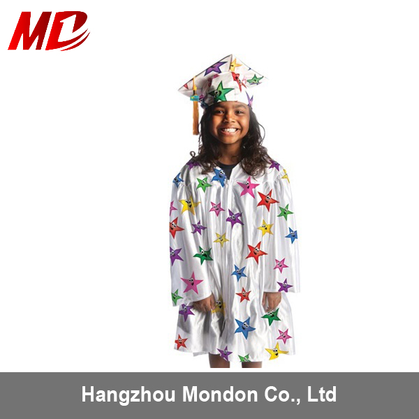 customized new design star kids graduation cap gown for children