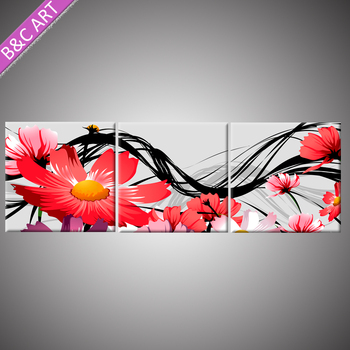 Wall Papers Home Decoration 3D Mix Color Red Sun Flower Painting Plaster Crafts