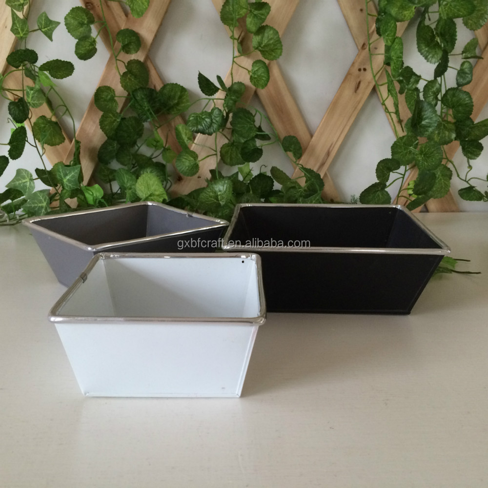 Rectangle Metal Flower Pots With Silver edge For Garden Decoration