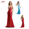 Back hollow out design women wedding evening dresses V neck sleeveless party dress