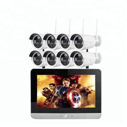 Wholesale 12inch monitor cctv kit wifi home control system 8ch h.264 nvr kits outdoor surveillance use