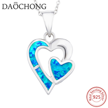 New trendy channel fashion jewelry 925 silver girlfriend solid heart shaped pendant opal necklace