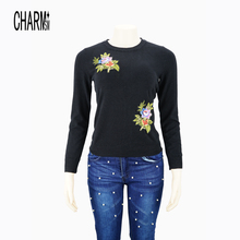 latest new style sweater FLORAL APPLIQUE FG JUMPER knitted pullover sweater