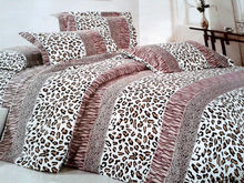 queen size cotton brushed leopard strip sheet set