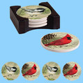 China Wholesale Customer Round Ceramic Coaster Set