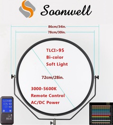 "30"" Remote Control Bi-color Super Slim Round LED Light Panel for TV Video Photography Film Studio Lighting"