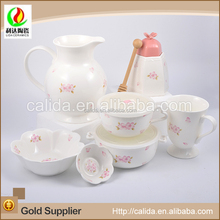 Made in china cheap price cherry decal eco-friendly ceramic porcelain japanese tea set