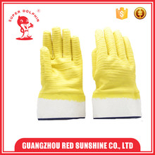 7G Cotton Knitted Liner Green Latex Coated Gloves,Wear Resistant Work Glove