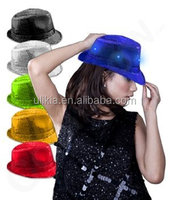 LED Flashing Fedora Hat with Sequins