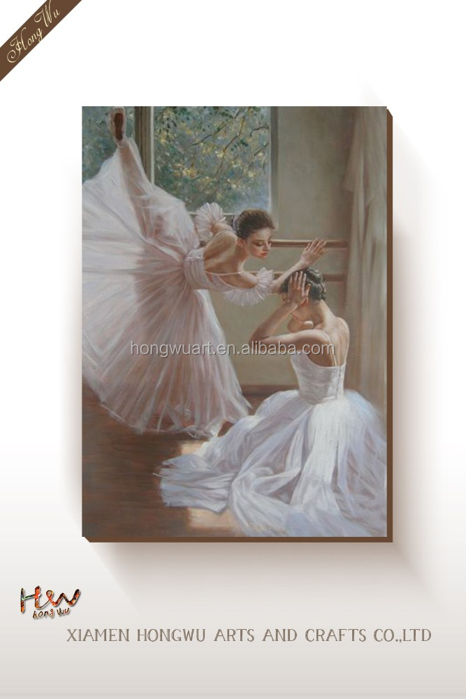 Classical Ballet Girl Portrait Oil Painting for Wall Decor