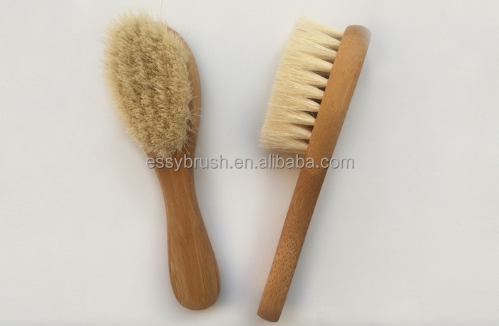 soft goats bristle wood handle baby hair brush