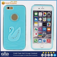 [GGIT] Cute Hotsale Cell Phone Cover Case for iPhone 6,2 in 1 TPU+PC Fashionable Case for iPhone 6G with Diamond