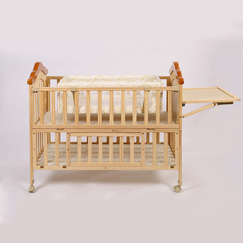 Solid wood material 110*64*93cm cot models/bed crib with bedding set