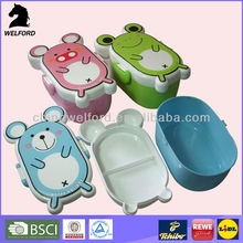 plastic cartoon shaped lunch box food container for kid with lid