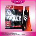 Hot sales square bottom zipper plastic bag for whey protein