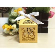 Hollow Laser Cut Bird Love Candy Box Wedding Favor with Ribbon Bow