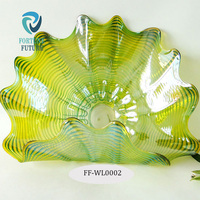 High quality solid yellow color curved plate shape translucent murano glass vase with patterns for wall decoration