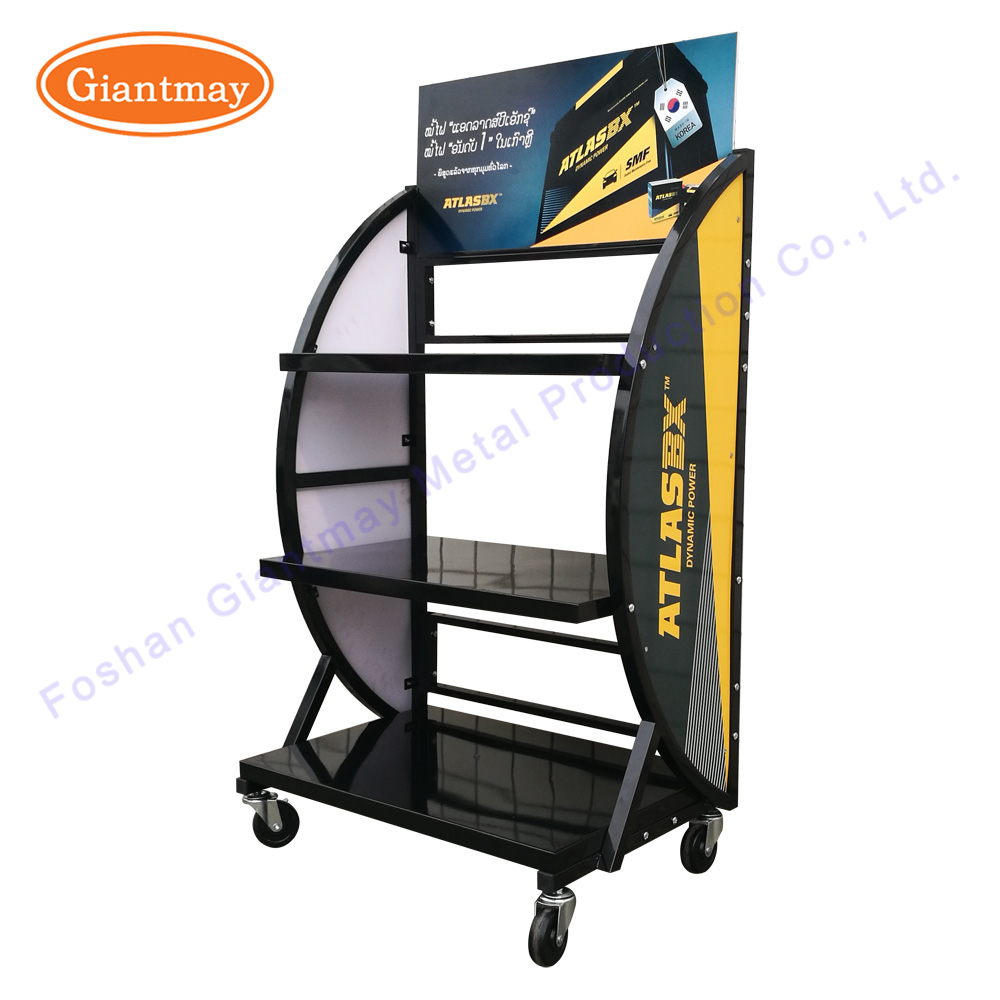 Durable free standing high capacity car parts shelving wholesale metal iron power auto car battery display stand rack