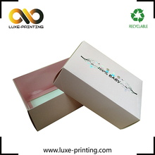 Light pink color lid and base separate baby shoes packaging recycled cardboard box
